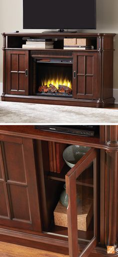 Check out this beautiful Jamerson Manor fireplace. It heats spaces up to 1000 square feet, so it's perfect for a family room or living room. Adjust it by remote control to to eleven different temperature levels. It even doubles as an entertainment cabinet with convertible sliding doors! Shown here in Ebony Oak finish. Also available in Driftwood and Providence Black.