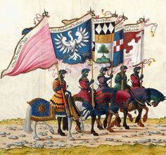 Mounted Knight's - Artist: various, Title: »Triumphzug Kaiser Maximilians« Page 15, Date: 1526