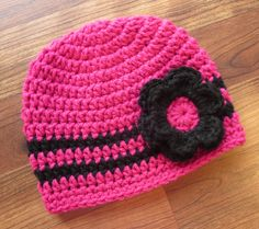 Crocheted Fuchsia Pink and Black Baby Girl Hat with Flower, Baby Shower Gift, Newborn Photo Prop - Newborn to 5T - MADE TO ORDER by KaraAndMollysKids on Etsy