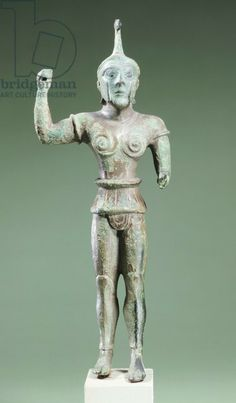 Bronze statue depicting Laran. Etruscan Civilization, ca 520 BC. Artwork-location: Leida, Rijksmuseum Van Oudheden (National Museum Of Antiquites, Archaeological Museum)