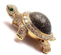 Cartier Turtle Diamond Fossil Jasper Large Pin Brooch #beautifuljewelryvintage