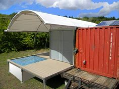 small shipping container house with pool