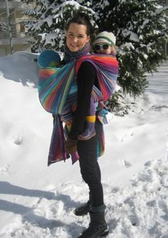 Exclusive Girasol Double Rainbow in Blue and Red Weft...LOVE the tandem babywearing!