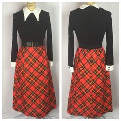 Vintage Red Tartan Plaid Dress with Peter Pan Collar Size 8 | eBay
