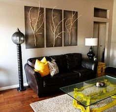 Love everything in this room! 3D wall art... Coffee table... Lighting...