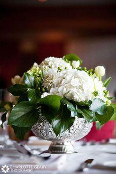 centerpieces white flowers silver bowls