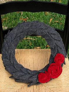 Felted wool sweater turned wreath