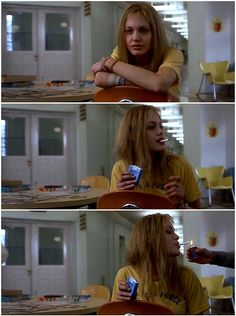 Girl Interrupted, Lisa gets a light. Angelina Jolie is insane in this role...literaly
