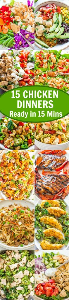 15 Chicken Dinners Ready in 15 Minutes – EASY dinners that are ready in a flash and PERFECT for busy weeknights!! DELISH, healthy, and guaranteed to please your toughest dinner critics!! It's back to