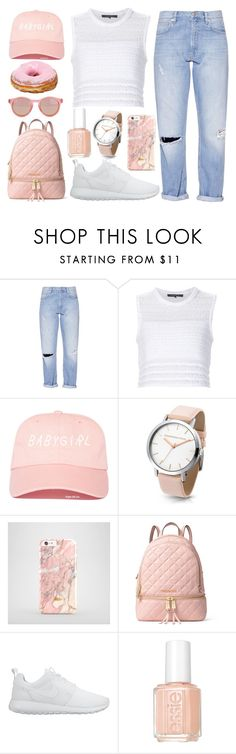 """""""get started"""" by redlips-blacksoul ❤ liked on Polyvore featuring French Connection, Thakoon, MICHAEL Michael Kors, NIKE, Essie and Le Specs"""