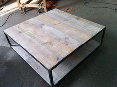 Table basse Métal et bois sur roulettes et plateau pour revues : Meubles et rangements par relookmeuble-bois-et-metal