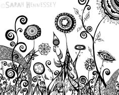 Surreal Garden with Black Ink Flowers 8x10 by sometimesiswirl