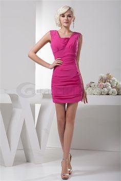 Short/ Mini Sheath/ Column Pleats Chiffon Silk-like Satin Homecoming Dress