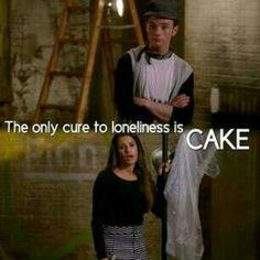 The only cure for loneliness is cake. Cure For Loneliness, Crying Emoji, Glee Fashion, Glee Quotes, Finn Hudson, Glee Club, Singing In The Rain, Reasons To Live, Chris Colfer