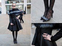 Karolina Gliniecka Street Style NYFW Clothes: Drunklegends coat, DIY faux fur Shoes: Louis Vuitton heels Jewelry: Apart