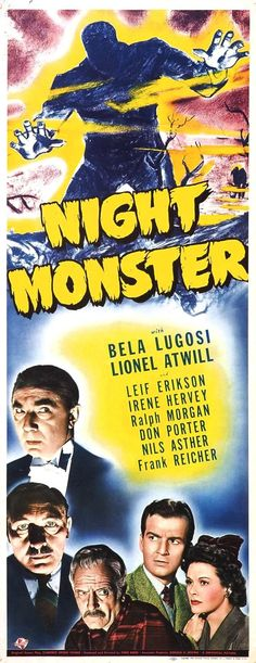 Insert to _Night Monster_, all but forgotten Universal horror from the classic period. It's really more of a B whodoneit.