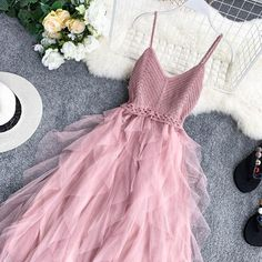 Cute Prom Dresses, Pretty Dresses, Mesh Dress, Dress Up, Dress Clothes, Short Sundress, Casual Dress Outfits, Cowgirl Outfits, Crochet Clothes