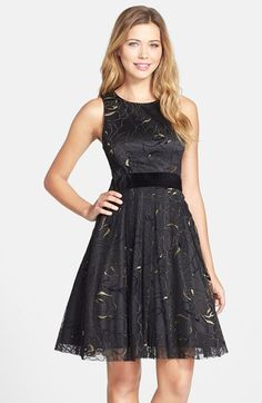 Eliza J Velvet Trim Metallic Fit & Flare Dress available at #Nordstrom GREAT FOR THE  HOLIDAYS, A WEDDING, PARTY DRESS