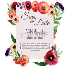 Vector watercolor template save the date with floral frame, leaves...