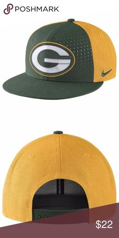 Nike Dri Fit Green Bay Packers Adjustable Cap Hat Nike Green Bay Packers Laser Pulse True Snapback Adjustable Cap Adjustable snapback. Structured fit. Raised embroidery team logo at front. Interior moisture absorbing sweatband. Material: 100% Polyester. Officially Licensed by the NFL Great Chance to Own for Less  New with Tags Nike Accessories Hats
