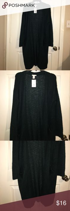 New H&M green long sweater Perfect for fall long sweater H&M Sweaters