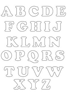 Alphabet template # felt Source by Alphabet Letter Templates, Letter Stencils, Alphabet And Numbers, Stencil Lettering, Colouring Pages, Clipart, Writing, Banner, Ideas