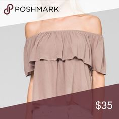 off the shoulder top NWT ♡  Cute strapless layered top in mocha. Made from 100% rayon in the USA. Not Sadie &a sage, tagged for exposure. BLYNN Tops Blouses