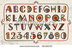 African ethnic bright vector alphabet Hand drawn graphic font Primitive simple stylized design  - stock vector