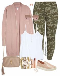 Plus Size Camo Pants Fall Outfit Ideas - Rose Gold Cardigan with White Cami, and Pink Slip on Sneakers with Crossbody Bag - Alexa Webb #plussize #alexawebb Casual Fall Outfits, Fall Winter Outfits, Cool Outfits, Casual Fridays, Camo Pants Outfit, Look Plus Size, Plus Size Fashion, Curvy Fashion, Plus Size Outfits
