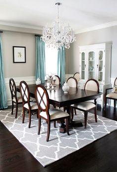 Custom Silk Drapes-this dining room looks stunning with beautiful silk drapes.