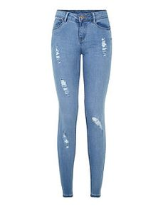 Teens Light Blue Authentic Ripped Jeans    New Look