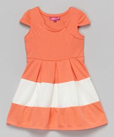 Love this Deep Peach & New Lace Cap-Sleeve Dress - Toddler & Girls by Chillipop on #zulily! #zulilyfinds