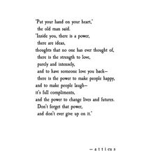 The Old Man Said. atticus poetry