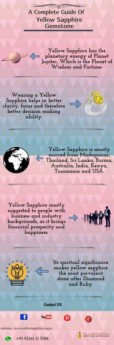 Yellow Sapphire gemstone is one of the most fascinating gemstones that is getting immense popularity among people. Yellow Sapphire gemstone also is known as pukhraj in Hindi can be used in both jewelry. Jupiter Astrology, Sapphire Gemstone, Infographics, Gemstones, Yellow, Nature, People, Color, Jewelry