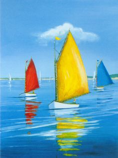 Red, Yellow, Blue Boats Oil Painting | Seascape | Art Paint King
