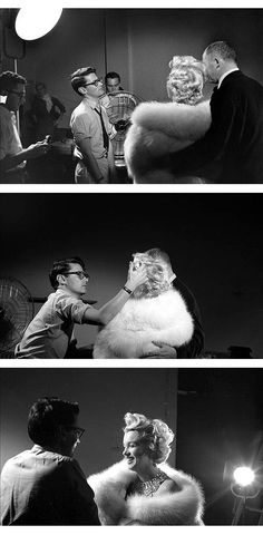 Richard Avedon, Marilyn Monroe and Billy Wilder during a photo session in his studio.  USA, 1954. © Sam Shaw / Shaw Family Archives / Roger-Viollet