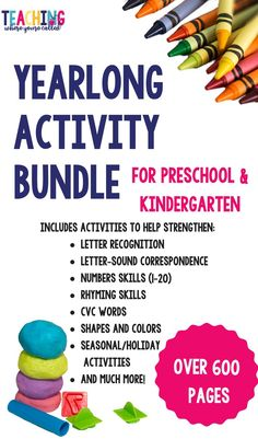 This activity packet provides fun and engaging math and literacy activities for your preschool, prek, or T-K students. These worksheets also work great as review or independent centers for kindergarten. These printables include thematic activities for each month, as well as work with letters, numbers, rhyming word, CVC words, and much more! They are perfect for small groups, literacy centers, morning work, and independent practice.