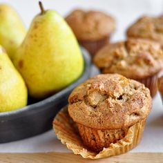 spiced pear muffins // #breakfast #baking #pear // these are SO GOOD. my pears must have been huge because there were way too many pears vs batter, but they still tasted amazing. -gf
