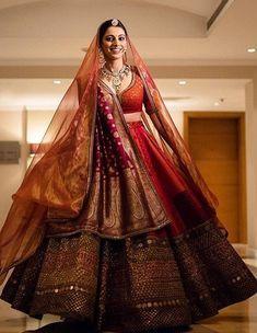 Unique Bridal Lehenga designs that is every Bride's pick in Sabyasachi Lehenga Bridal, Indian Bridal Lehenga, Red Lehenga, Indian Bridal Outfits, Anarkali, Lengha Choli, Indian Dresses, Sarees, Lehenga Designs