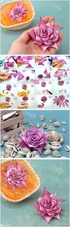 diy, diy projects, diy craft, handmade, diy beautiful modular ribbon rose