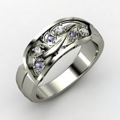 Pebbles in a Stream Ring, Palladium Ring with Iolite
