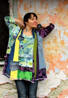 L-XXL Spring colors recycled denim dress tunic von jamfashion