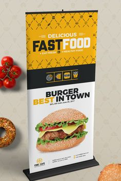 Digital Signage For Fast Food Agency Billboard Rollup Banner Location Board Promotional Counter Shop Sign Bundle - Graphic Files Heart Healthy Recipes, Healthy Dog Treats, Healthy Snacks, Digital Signage, Rollup Banner Design, Roll Up Design, Design Design, Graphic Design, New Foto
