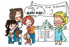 This maybe was what happened at JJ's 2nd birthday party... LOL ^_^    name of the fanart: The cold never bothered me anyway Supernatural fanart by KamiDiox.deviantart.com on @DeviantArt    Princess Elsa    Jensen, Danneel and JJ Ackles    Jared, Gen, Tom Shep Padalecki #funny