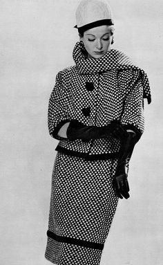 1960 Model in black and white check tweed suit by Maurice Roger