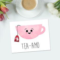 Tea-amo Digital Printable Poster Funny Teacup Cup Of Love Pink Tea Hearts Cupid Happy Valentines Day Card Print Pun Anniversary Ti Amo - Tea-amo Digital Printable Poster Funny Teacup by ALittleLeafy - Cute Cards, Diy Cards, Funny Cards, Diy Birthday, Birthday Cards, Tarjetas Diy, Cadeau Couple, Karten Diy, Happy Valentines Day Card