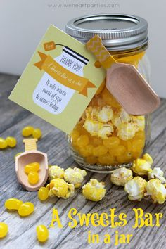 """Party favor - """"Sweets Bar in a Jar""""  free printable tags...pre-portion candy and treats in mason jars for guests to take home.  {We Heart Parties}"""
