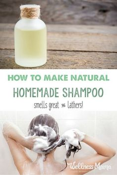 This homemade shampoo is all natural and has four ingredients (or less depending on hair type) that cleans hair naturally without stripping natural oils. This homemade natural shampoo smells great, works well, and lathers! Diy Shampoo, Natural Shampoo Homemade, Natural Hair Shampoo, Homemade Shampoo And Conditioner, Homemade Shampoo Recipes, Homemade Soaps, Castile Soap Shampoo, How To Make Shampoo, Teen Homemade