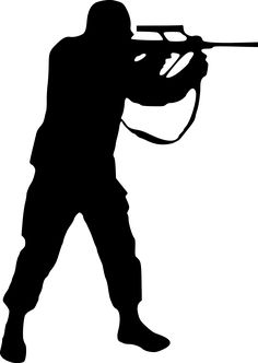 soldier-silhouette by @drunken_duck, I made a second one with reduced points, but this one is small enough to be a clipart too. By the way you have 3 times to guess whose silhouette this is.