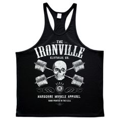 2fc380af9f638 Heavy Iron Outlaw Skull Barbells Powerlifting Stringer Tank Top Black  Powerlifting Gear